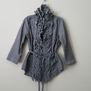 Grand & Greene Ruffled Gray Stripe Blouse Med